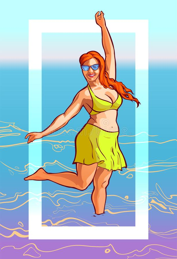 Gladlynt sommarillustration med en fyllig kvinna i en baddräkt stock illustrationer