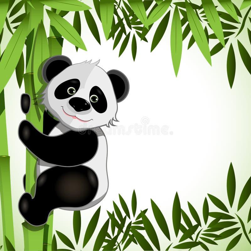 Gladlynt panda på bambu royaltyfri illustrationer