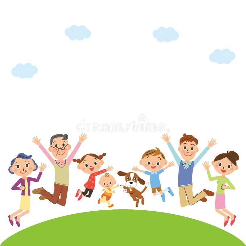Gladlynt tre-utveckling familj royaltyfri illustrationer