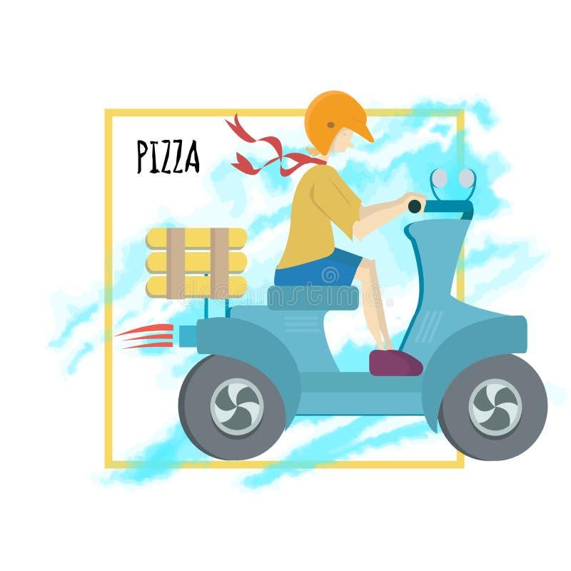 Gladlynt ungt bud som rymmer en pizzaask, medan isolerat på vit En ung man rider en sparkcykel Mall av advertizingaffischen eller vektor illustrationer