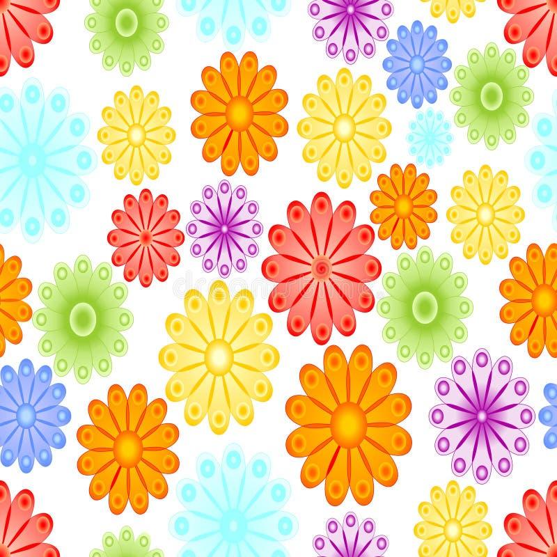 Gladlynt vårbakgrund med abstrakt blommamotiv För blått, röd och orange blomning för gräsplan, för guling, på vit bakgrund vektor illustrationer
