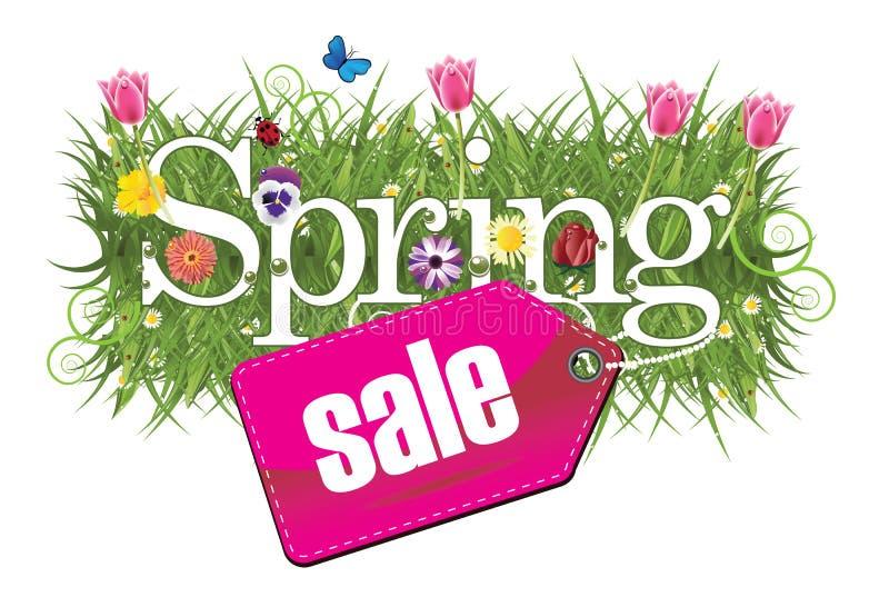 Gladlynt vårförsäljningsdesign med gräs, blommor och fjärilar stock illustrationer