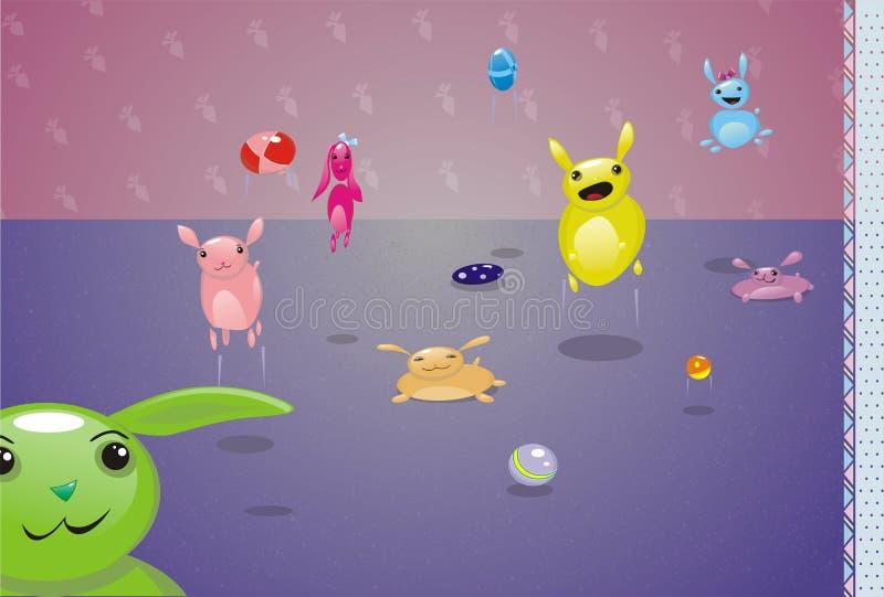 gladlynt varelser som hoppar little vektor illustrationer