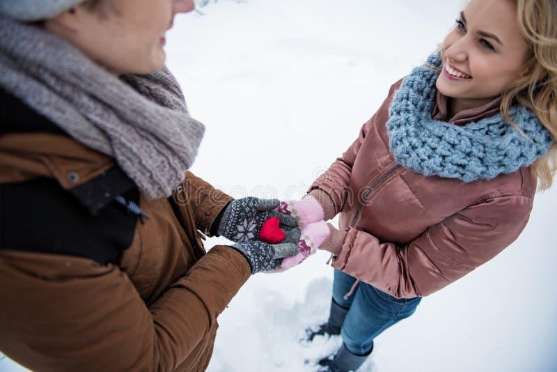 Gladlynta älska par som uttrycker deras känslor royaltyfri bild