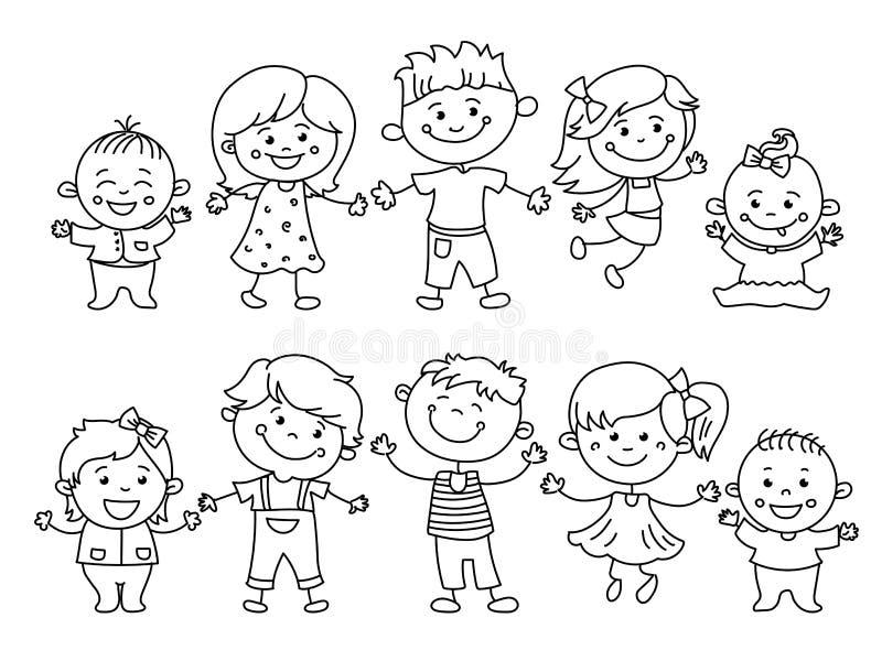 Gladlynta barn målade vid färgrika blyertspennor med ungebeståndsdelar, teckningar, målningar Flickor och pojkar är på viten stock illustrationer