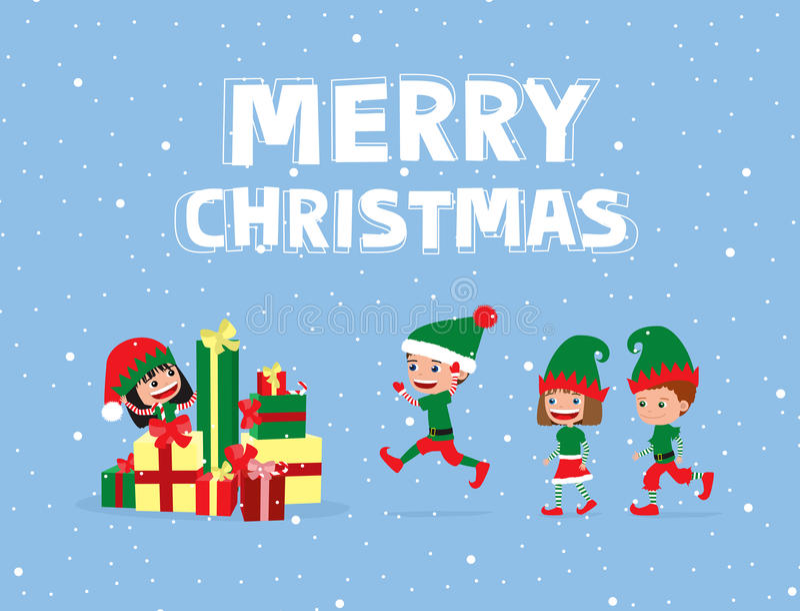 Gladlynta barn som bär älvadräkter som kör in mot högen av julgåvor royaltyfri illustrationer
