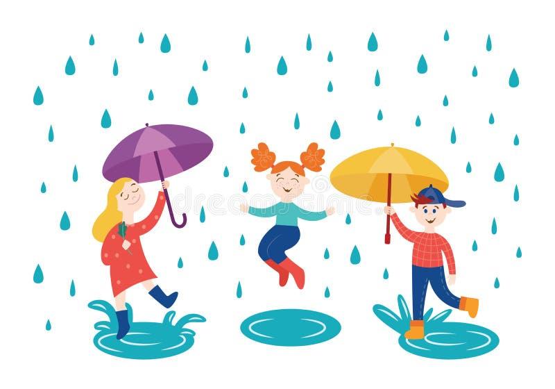 Gladlynta barn som utomhus spelar och hoppar under paraplyet i regnigt väder i höst royaltyfri illustrationer