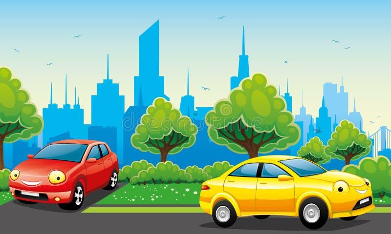 Gladlynta bilar på vägen stock illustrationer