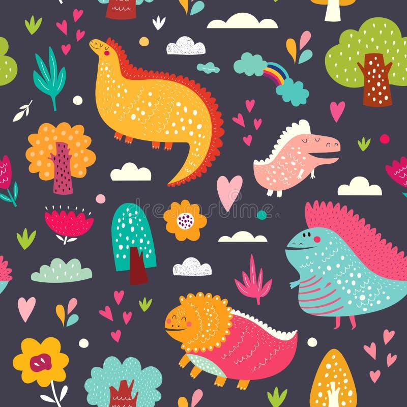 Gladlynta dinosaurier royaltyfri illustrationer