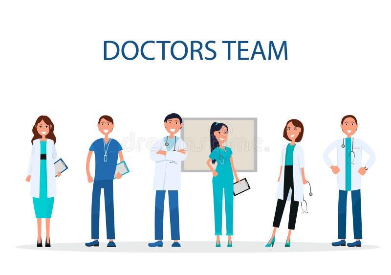 Gladlynta doktorer Team Providing Medical Care Flat royaltyfri illustrationer