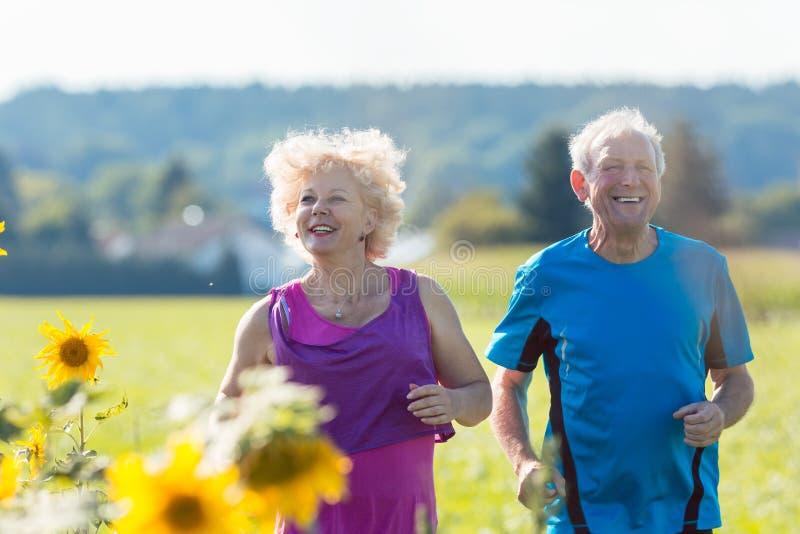 Gladlynta höga par som tillsammans utomhus joggar i bygden royaltyfri foto