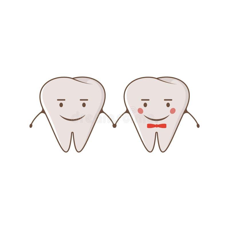 Gladlynta tänder för gulliga par För stiltecknad film för vektor modern plan illustration för tecken Klart begrepp de för jul för vektor illustrationer