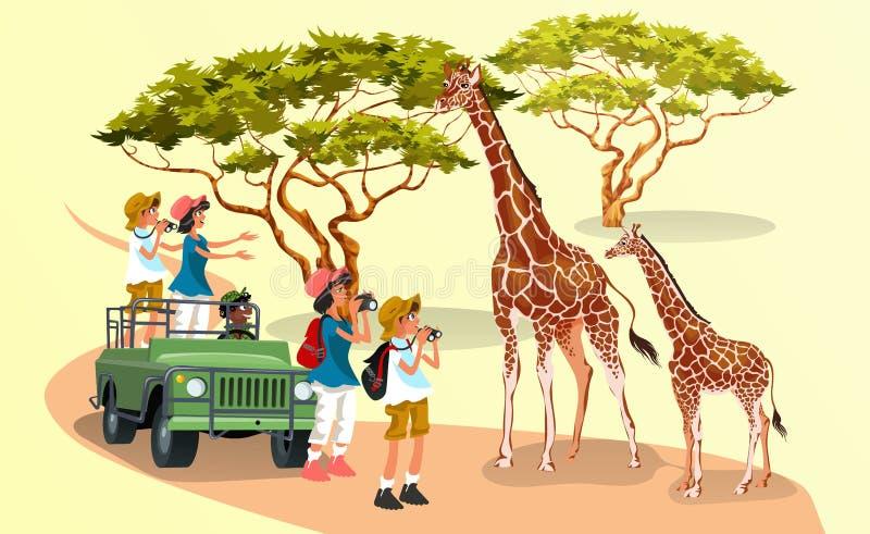 Gladlynta tecknad filmbesökare med kameror som går i natur med giraff stock illustrationer