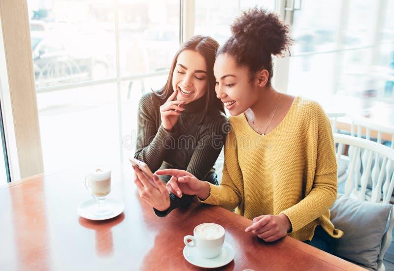 Gladlynta två och härliga flickor sitter tillsammans nära tabellen och håller ögonen på något på telefonen De ser royaltyfri foto