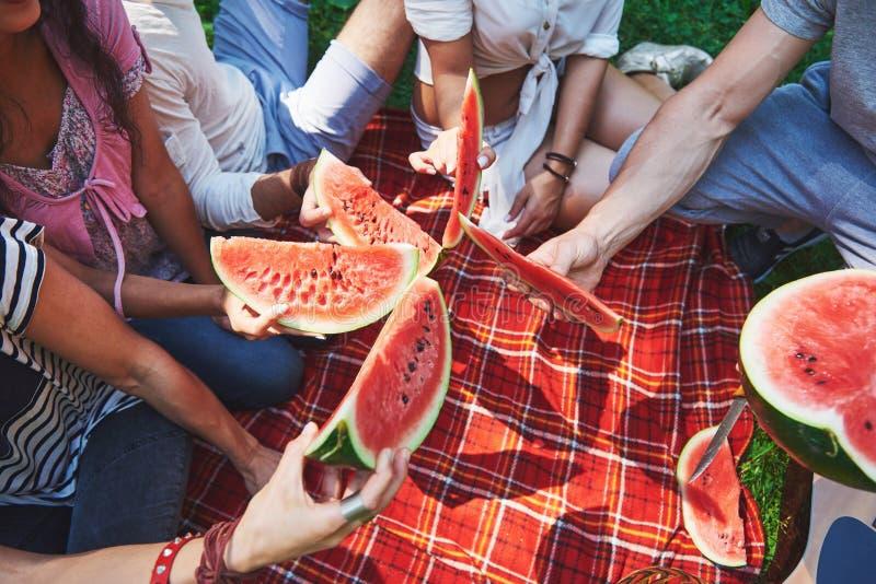 Gladlynta vänner som tycker om vattenmelon på picknick på solig sommardag arkivfoto