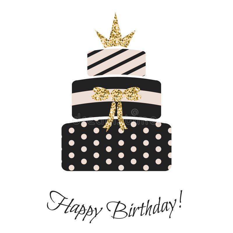 Glam birthday cake for girls. stock illustration