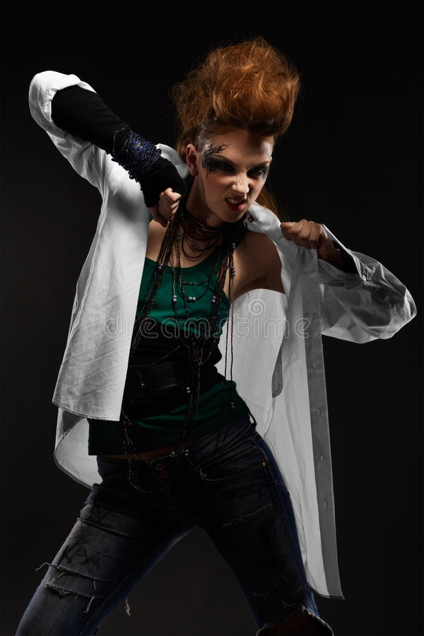 Download Glam punk girl stock image. Image of green, model, female - 15074477