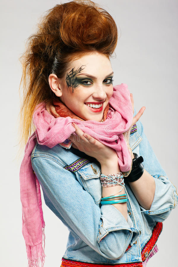 Download Glam punk girl stock image. Image of glamour, blue, girl - 17052435