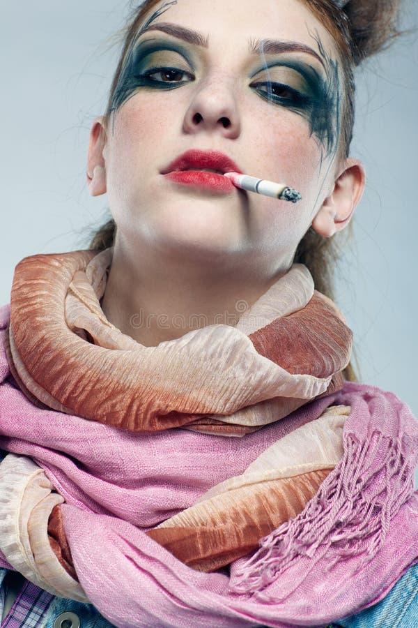 Download Glam punk girl smoking stock photo. Image of glamour - 14135722