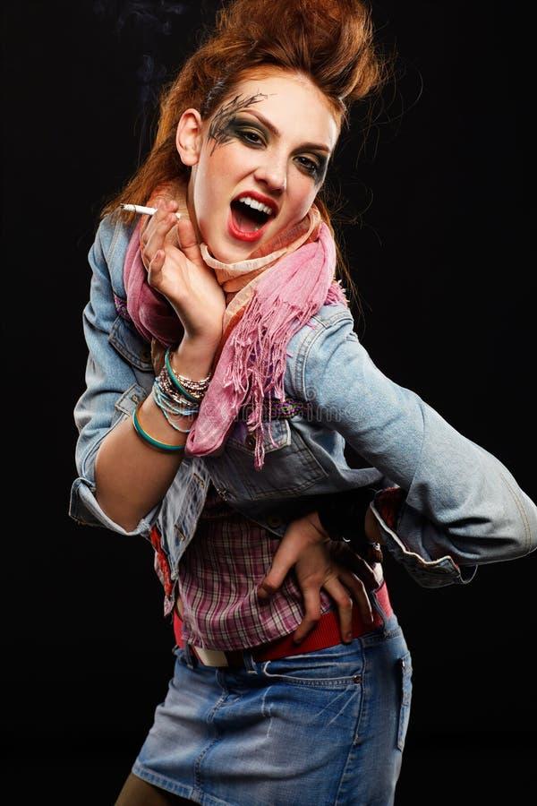 Download Glam punk girl smoking stock photo. Image of blue, european - 16032690