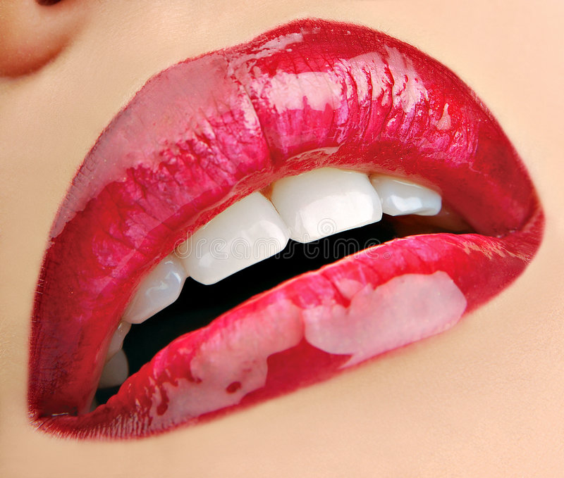 Glam wine-coloured lips. royalty free stock images