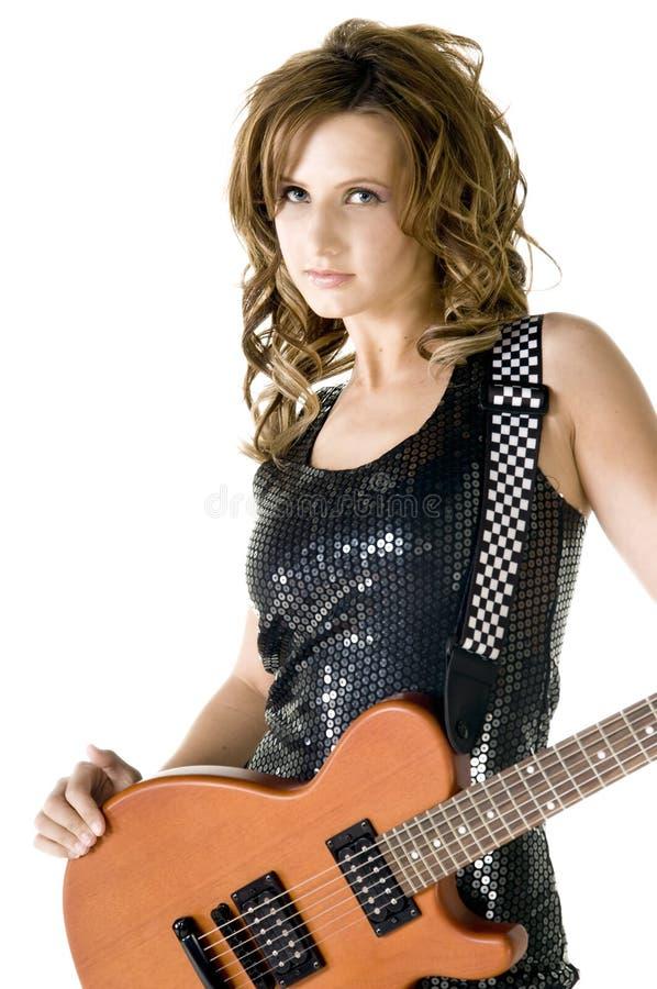 glamgitarristrock arkivfoto