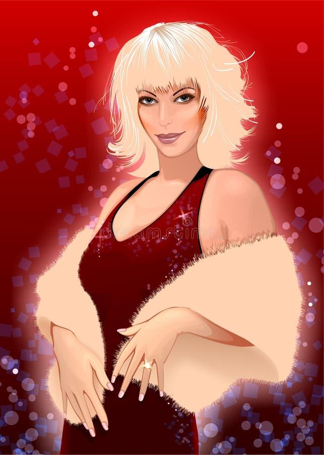 glamorös blond flicka stock illustrationer