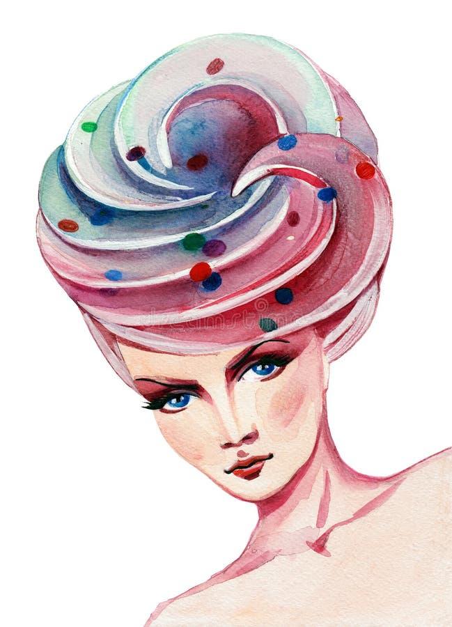Glamorös frisyr stock illustrationer