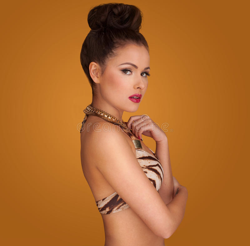 Glamorös kvinna med hennes hår i en bulle arkivfoton