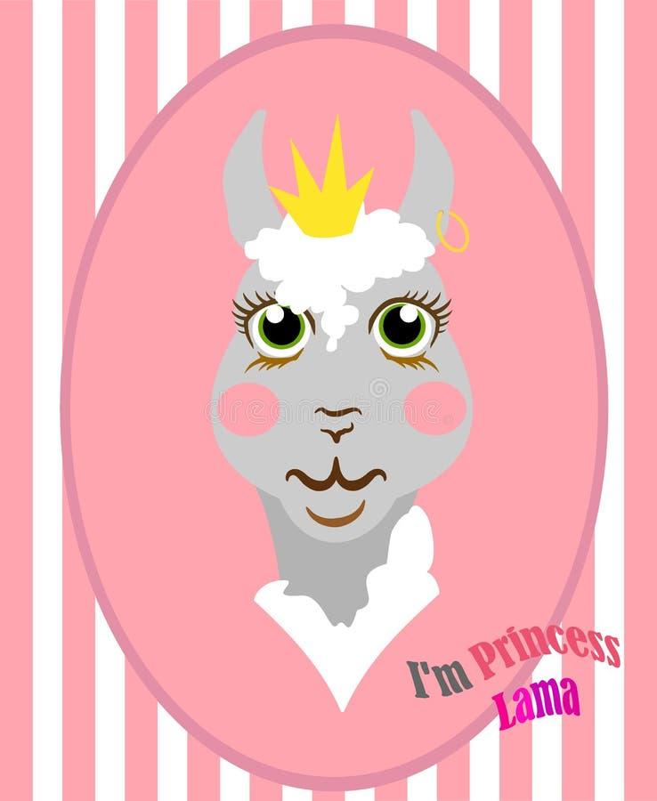 Glamoröst tysta ned av alpaca med en randig bakgrund, och stora ögon i anime utformar, med en krona och ett örhänge i örat vektor illustrationer