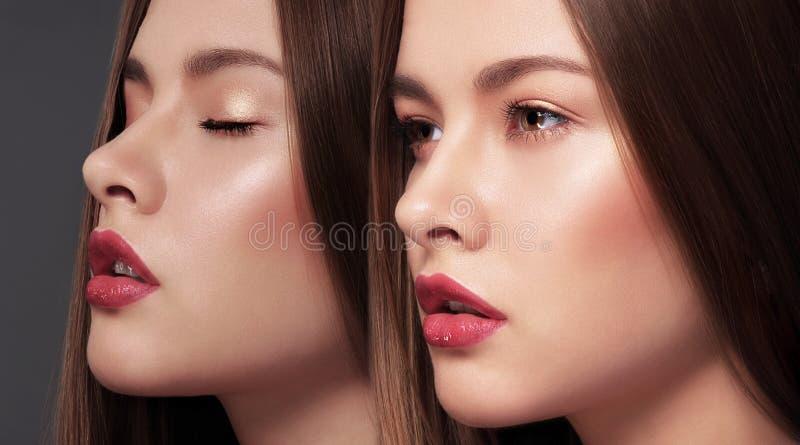 glamor Стороны 2 молодых шикарных чувственных женщин стоковое изображение rf
