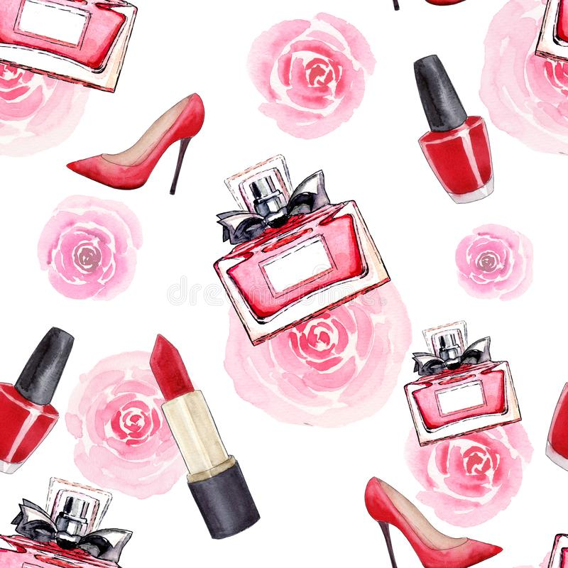 Glamor accessories. Fashion. Seamless watercolor pattern with women`s shoes, lipstick, perfume, flowers and nail polish. Isolated royalty free illustration