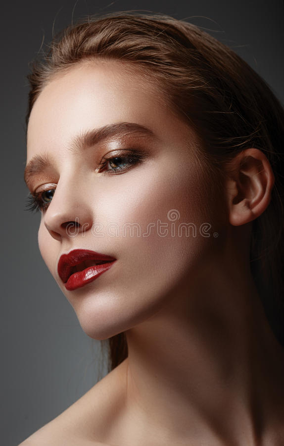 Glamor closeup portrait of beautiful stylish caucasian youn royalty free stock photo