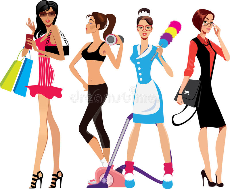 Glamor girl, fitness girl, housewife, business woman royalty free illustration