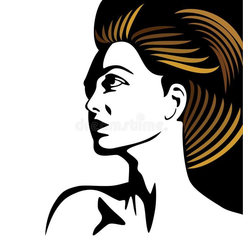 Glamor girl with golden hair stock illustration
