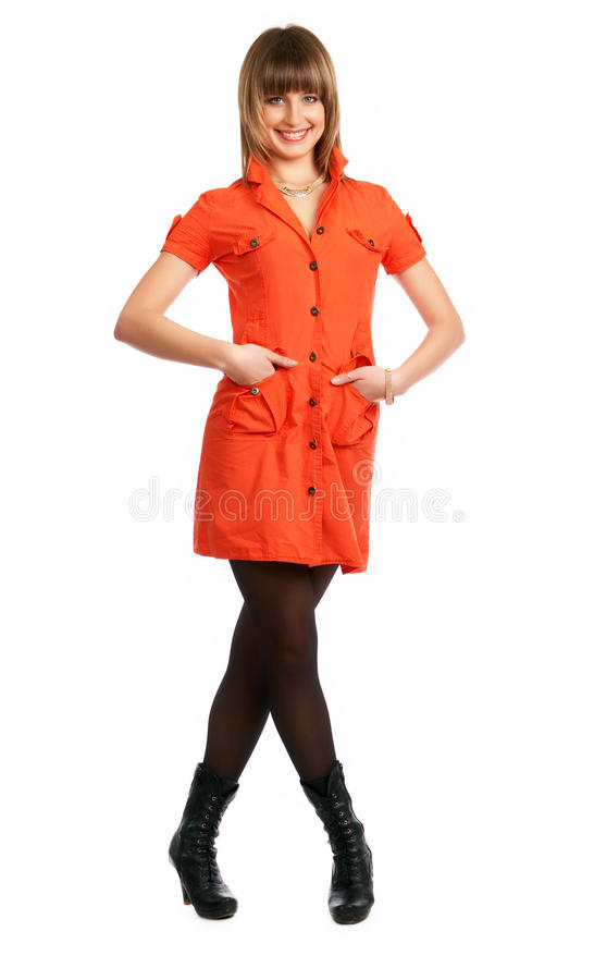 Free Glamor Girl In A Orange Dress Isolated Royalty Free Stock Photography - 9504937
