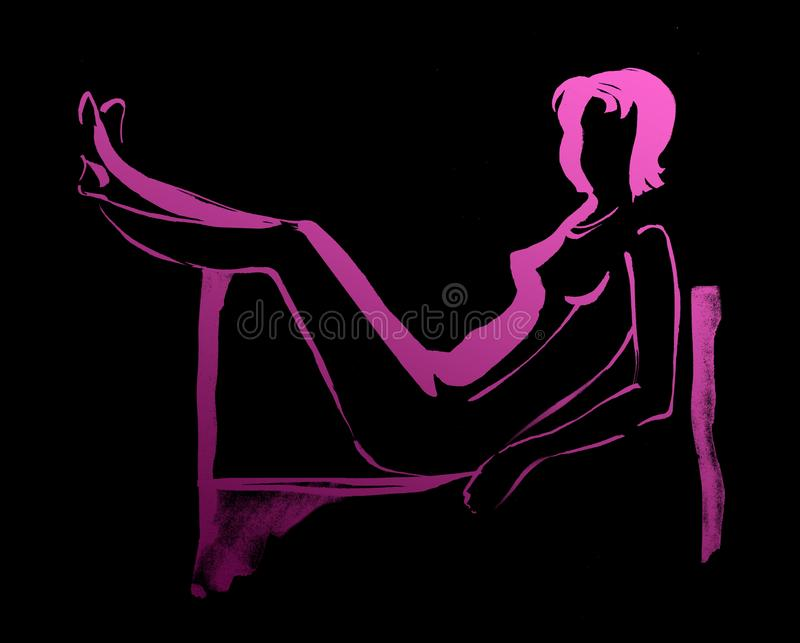 Glamor girl lying on the couch with legs raised 3 stock illustration