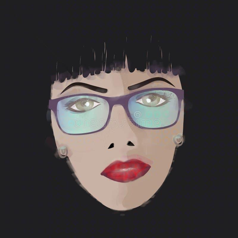 Glamor girl is wearing glasses stock illustration
