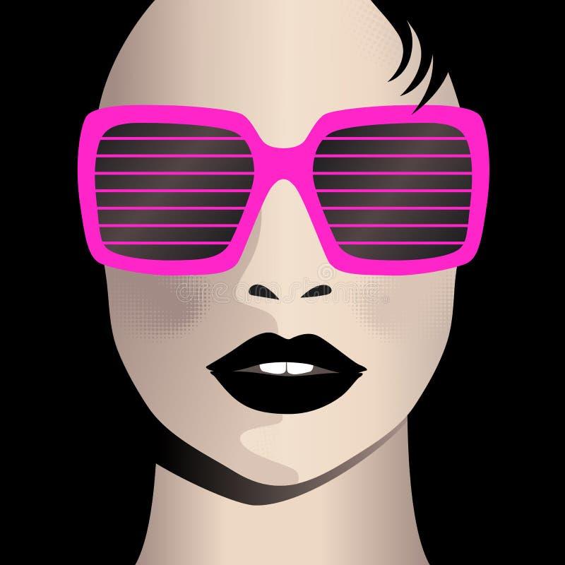 Glamor girl wears sunglasses royalty free illustration