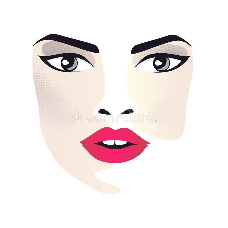Glamor girl with black background stock illustration