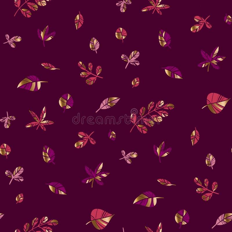 Glamor ornamental autumn foliage seamless pattern. Glamorous ornamental autumn foliage seamless pattern for background, wrap, fabric, textile, surface, web and stock illustration
