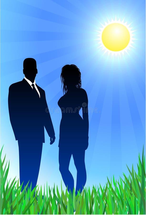 Glamor Paare auf Sommerhintergrund lizenzfreie abbildung