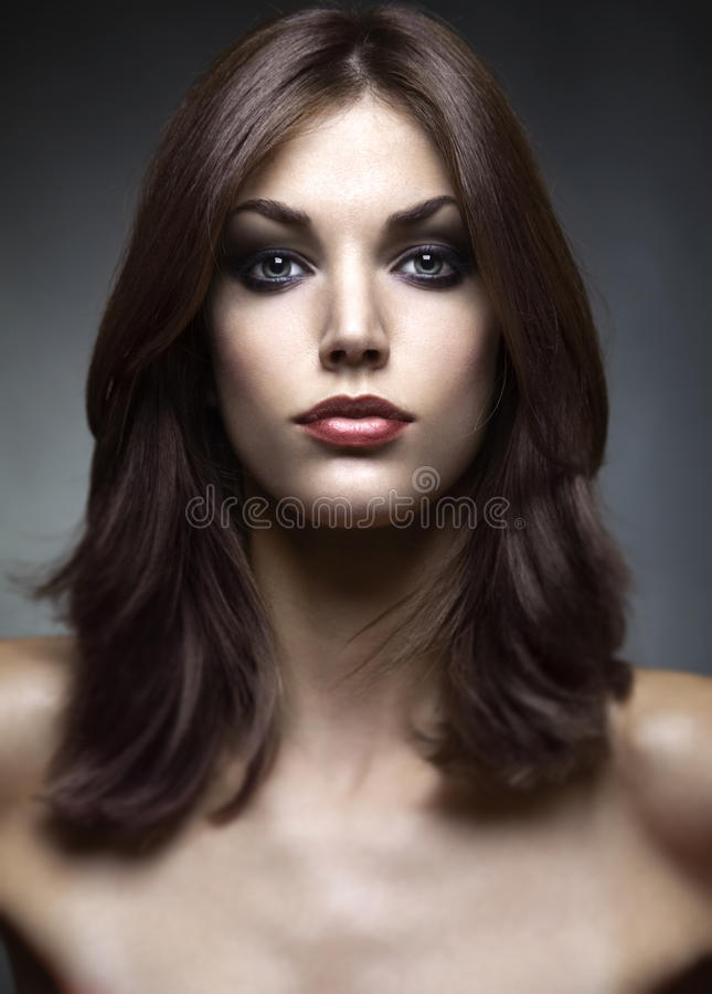 Glamor portrait. Beauty portrait of young and beautiful woman royalty free stock image