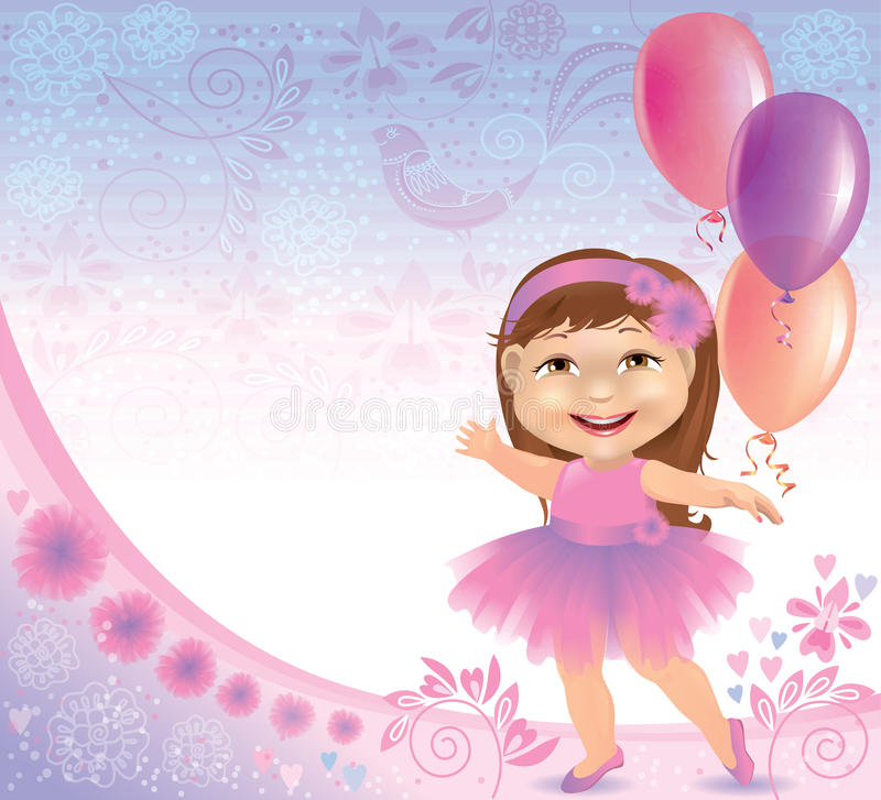Download Glamorous Birthday Background With Little Girl Stock Vector - Image: 27272987