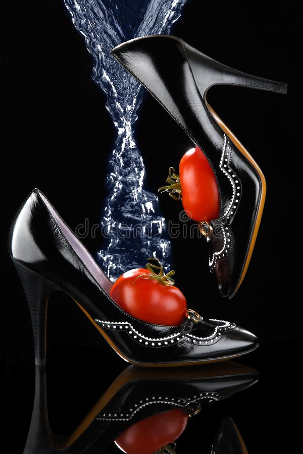 Glamorous Black Shoes stock image