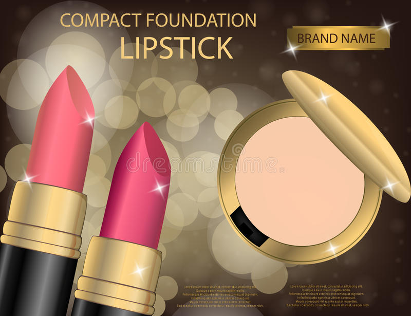 Glamorous compact foundation and lipstick on the sparkling effe royalty free illustration