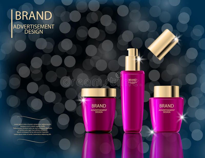 Glamorous face Beauty Care Products Packages on the sparkling effects background. Mock-up 3D Realistic Vector illustration. For design, template
