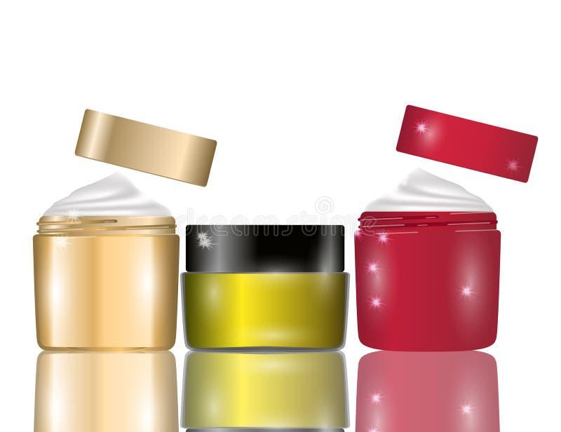 Glamorous facial cream jars on white background. Mockup 3D Realistic Vector illustration for design stock illustration