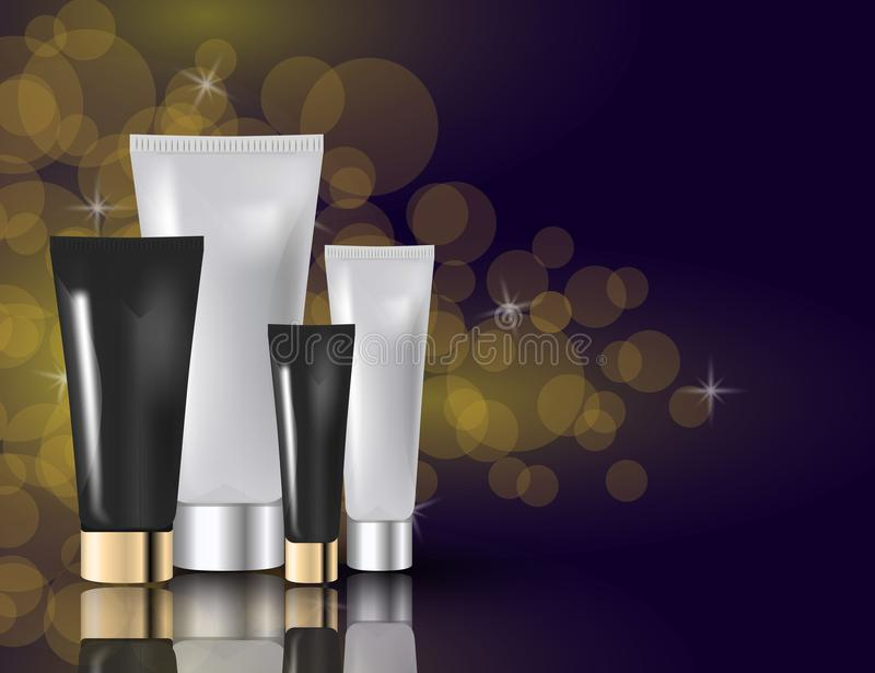 Glamorous facial and eye cream jars on the sparkling effects background. Mock-up 3D Realistic Vector illustration stock illustration