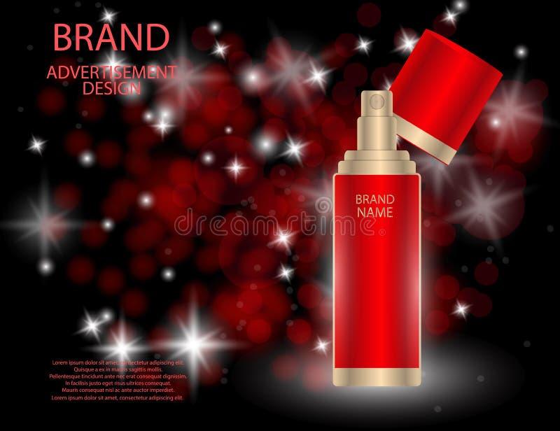 Glamorous facial treatment essence set on the sparkling effects background, elegant ads for design. royalty free illustration